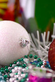 Christmas balls, new year decoration with champagne bottle Stock Image
