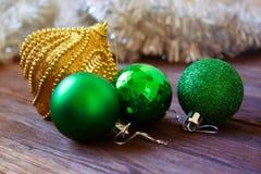 Christmas balls. new Year decoration. Christmas ornaments. Christmas  gold and green balls.new Year decoration. Christmas ornaments, christmas decoration Stock Photos