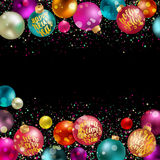 Christmas balls, new year decoration with lettering. Holidays hand calligraphy quotes on colorful balls with confetti and glitter. Vector decorative composition Royalty Free Stock Image