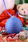 Christmas balls, new year decoration, teddy bear Royalty Free Stock Image