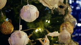 Christmas balls New Year. New Year Decoration on tree stock video footage
