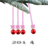 Christmas balls new year's 2014. Christmas balls new year's eve Newton pendulum Stock Images