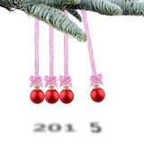 Christmas balls new year's 2015. Christmas balls new year's eve Newton pendulum Stock Photos