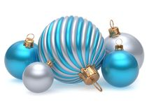 Christmas balls New Year`s Eve adornment decor blue white. Christmas balls New Year`s Eve adornment decoration blue white silver shiny wintertime hanging baubles royalty free illustration