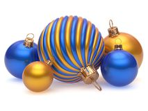 Christmas balls New Year`s Eve adornment decoration blue gold. En orange shiny wintertime hanging baubles group. Traditional ornament happy winter holidays Merry vector illustration