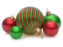 Christmas balls New Year`s Eve adornment decoration green red. Shiny wintertime hanging baubles group. Traditional ornament happy winter holidays Merry Xmas royalty free illustration