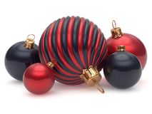 Christmas balls New Year`s Eve adornment decoration red black. Shiny wintertime hanging baubles group contrast. Traditional ornament happy winter holidays Merry royalty free illustration
