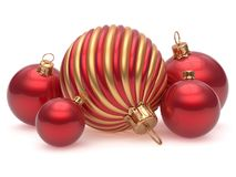 Christmas balls New Year`s Eve adornment decoration red golden. Shiny wintertime hanging baubles group. Traditional ornament happy winter holidays Merry Xmas royalty free illustration