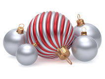 Christmas balls New Year's Eve adornment decoration red silver Stock Photography