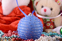 Christmas balls, new year, teddy bear Royalty Free Stock Images