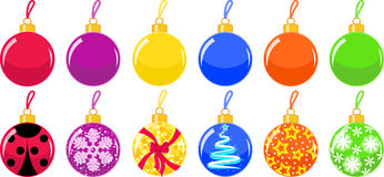 Christmas balls. New Years toys on the Christmas tree Royalty Free Stock Photography