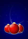 Christmas Balls on Night Sky Background. Three red christmas balls on night sky background with space for your text Stock Images