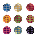 Christmas balls. Nine Christmas balls multicolored plaid Stock Image