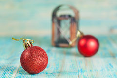 Christmas balls on old color Royalty Free Stock Image