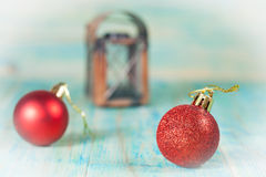 Christmas balls on old color Royalty Free Stock Photo