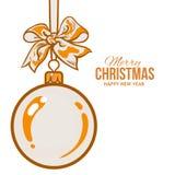 Christmas balls with orange ribbon and bows, greeting card template. Christmas ball with orange ribbon and bow, vector greeting card template with white Royalty Free Stock Photos