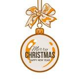 Christmas balls with orange ribbon and bows, greeting card template. Christmas ball with orange ribbon and bow, vector greeting card template with white Stock Photos