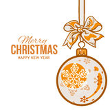 Christmas balls with orange ribbon and bows, greeting card template Royalty Free Stock Photo