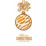 Christmas balls with orange ribbon and bows, greeting card template. Christmas ball with orange ribbon and bow, vector greeting card template with white Royalty Free Stock Images