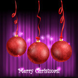Christmas balls with ornament. Of snowflakes on violer curtain background vector illustration