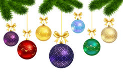 Christmas balls with ornament and fur-tree frame Stock Photos
