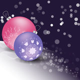 Christmas balls with ornament and snow. On a dark background. pink, lilac Stock Photography