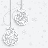 Christmas balls. Ornamental Christmas balls with paper swirls, decorative background royalty free illustration