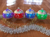 2015 Christmas balls. With ornaments Stock Photography