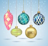 Christmas balls ornaments hanging on gold thread. Vector illustr Stock Image