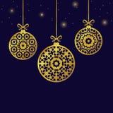 Christmas balls ornaments, xmas decoration, illustration Royalty Free Stock Photography