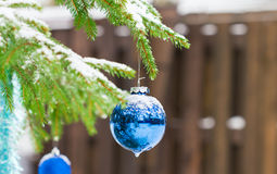 Christmas balls outdoors Stock Photos