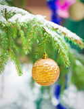 Christmas balls outdoors Royalty Free Stock Photo