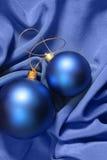 Christmas Balls Over Blue Silk Stock Photo
