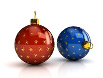Christmas balls over white Stock Photos