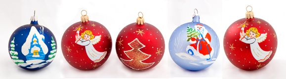 Christmas balls over white. Multicolored  New Years & Christmas red and golden balls over white Royalty Free Stock Image