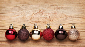 Christmas Balls Over Wooden Background. Stock Photography