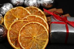 Christmas Balls and Parcels. Arranged as Christmas Decoration Stock Image