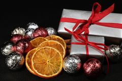 Christmas Balls and Parcels. Arranged as Christmas Decoration Stock Photo