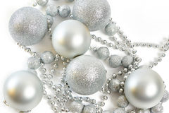 Christmas balls and pearls as symbol of New Year  Stock Photo