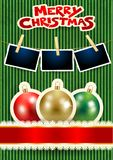 Christmas balls, photo frames and text on cardboard background. Vector illustration eps10 royalty free illustration