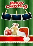 Christmas balls, photo frames, text and hat on cardboard background. Vector illustration eps10 stock illustration