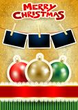 Christmas balls, photo frames and text on paper background. Vector illustration eps10 vector illustration