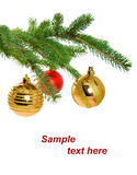 Christmas balls on pine branch Stock Photo