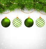 Christmas balls on pine branches with chains on grayscale Royalty Free Stock Photos