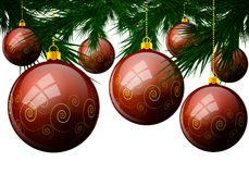 Christmas balls on pine branches. Vector art illustration Royalty Free Stock Photography