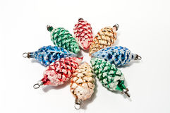 Christmas balls in pine cone shape Stock Images