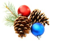 Christmas balls and pine cones. Stock Photo
