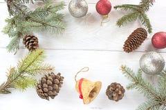 Christmas balls pine cones, needles Royalty Free Stock Photography