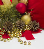 Christmas balls and pine cones Royalty Free Stock Photo