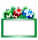 Christmas balls with pine and frame on white Royalty Free Stock Images